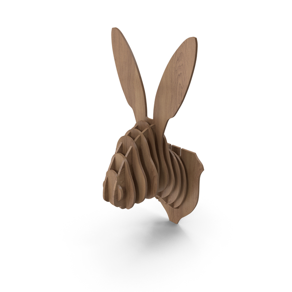 Animal Statue: Cardboard Rabbit Head PNG & PSD Images