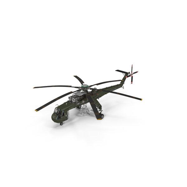 Cargo Helicopter Sikorsky S-64 Skycrane Green PNG & PSD Images
