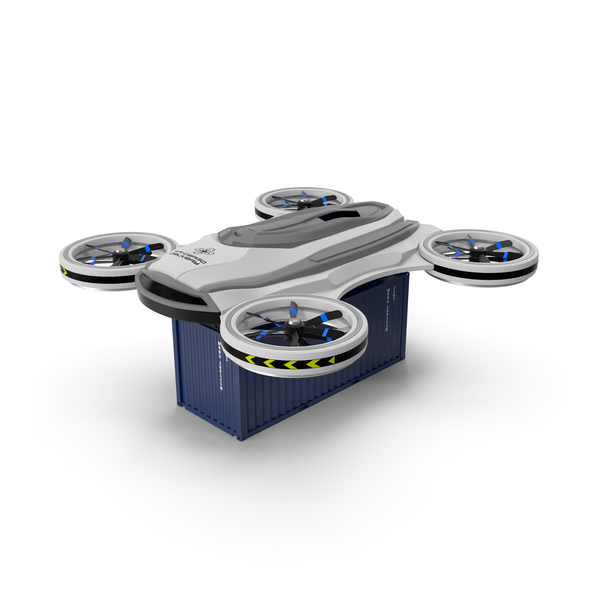 Cargo Quadrocopter Drone with Container PNG & PSD Images
