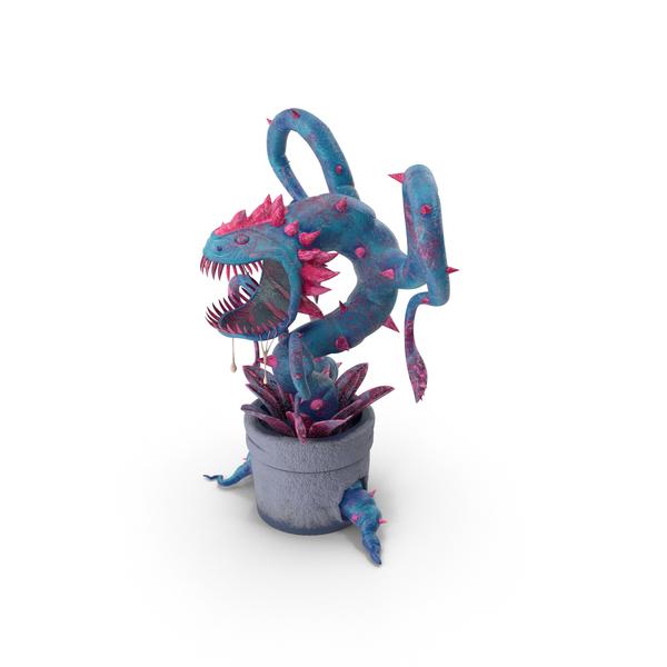 Monster: Carnivorous Flytrap Plant Blue PNG & PSD Images