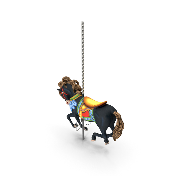 Carousel Galloping Horse Black PNG & PSD Images