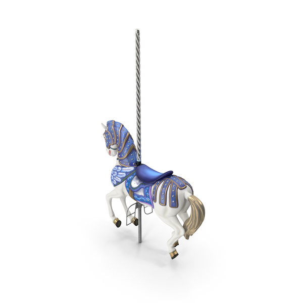 Carousel Horse Blue PNG & PSD Images