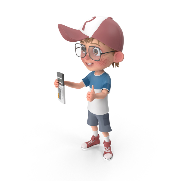 Cartoon Boy with Calculator PNG & PSD Images