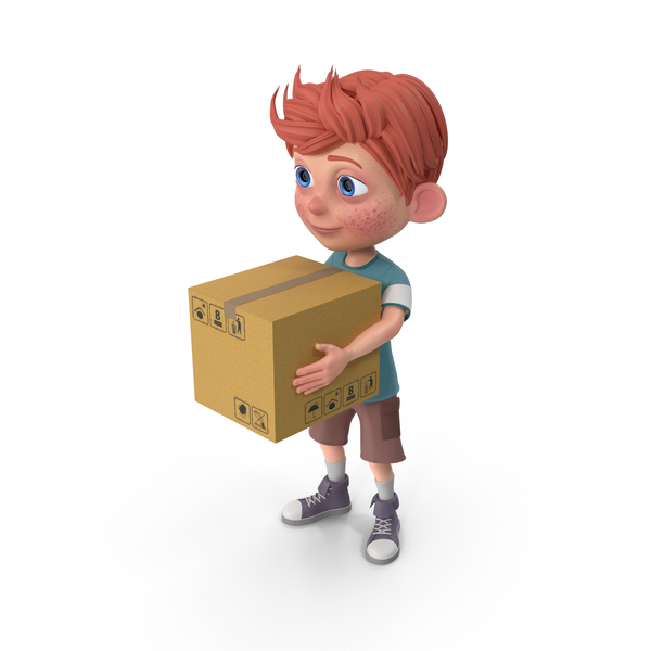 Cartoon Boy Charlie Carrying A Box PNG & PSD Images