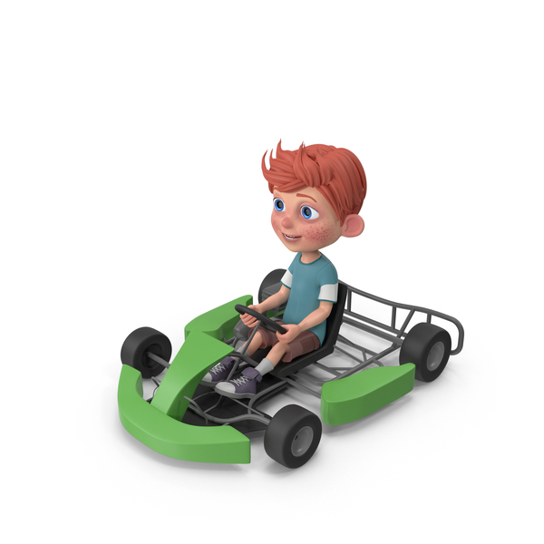 Cartoon Boy Charlie Driving Go-Cart PNG & PSD Images