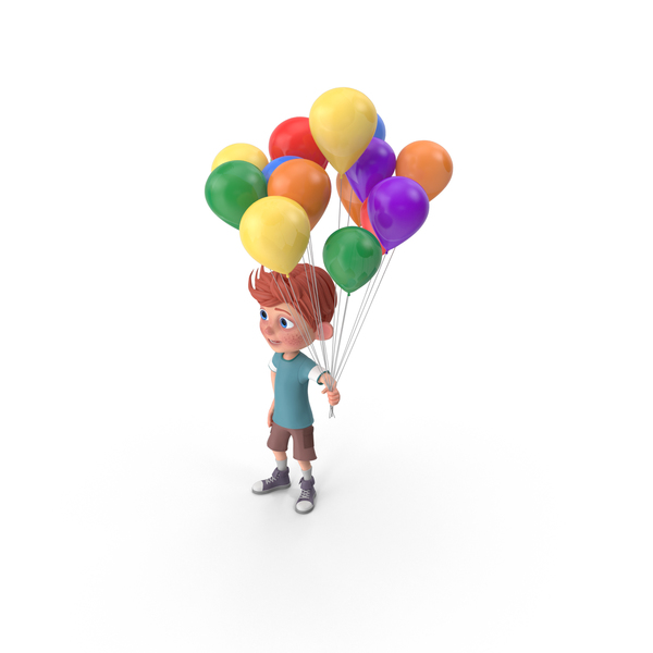 Cartoon Boy Charlie Holding Balloons PNG & PSD Images