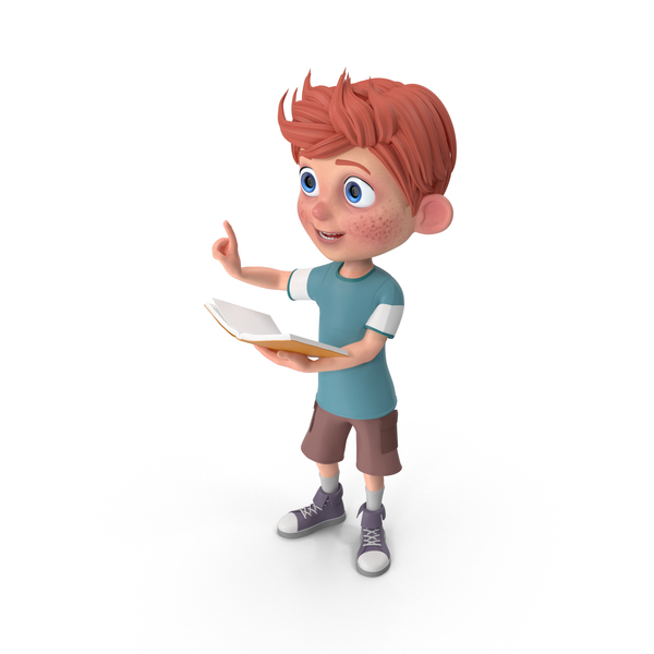 Cartoon Boy Charlie Holding Book PNG & PSD Images