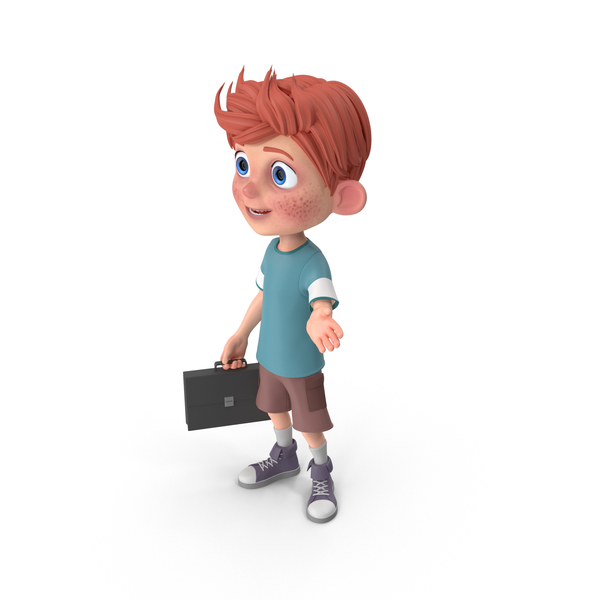 Cartoon Boy Charlie Holding Briefcase PNG & PSD Images