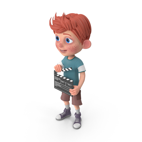 Cartoon Boy Charlie Holding Clapboard PNG & PSD Images