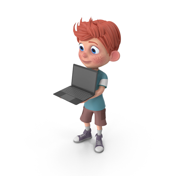 Cartoon Boy Charlie Holding Laptop PNG & PSD Images