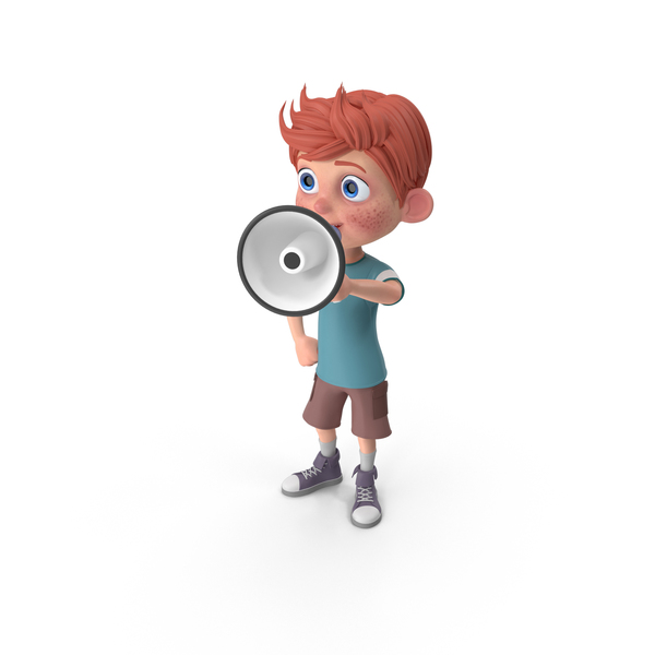 Cartoon Boy Charlie Holding Loud Speaker PNG & PSD Images