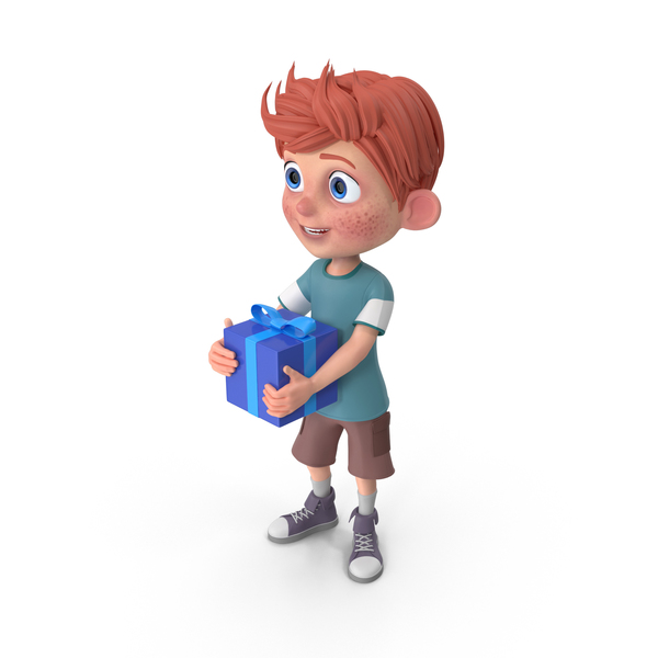 Cartoon Boy Charlie Holding Present PNG & PSD Images