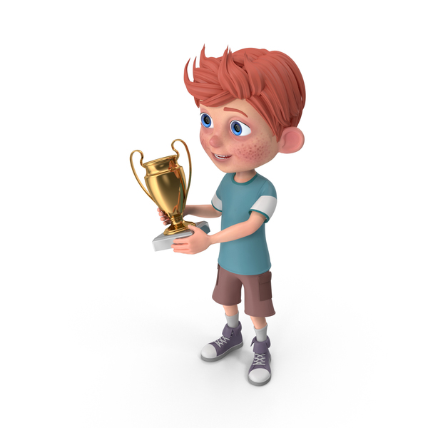 Cartoon Boy Charlie Holding Prize Cup PNG & PSD Images