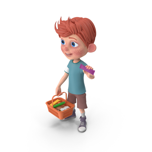 Cartoon Boy Charlie Holding Shopping Basket PNG & PSD Images