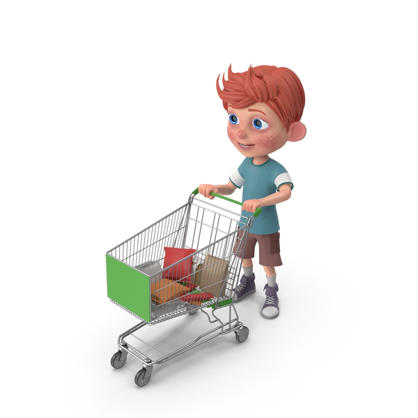 Cartoon Boy Charlie Holding Shopping Cart PNG & PSD Images