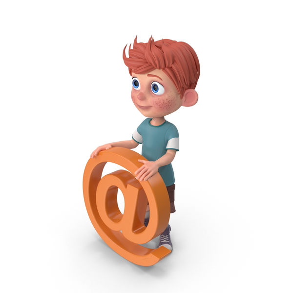 Cartoon Boy Charlie Holding @ Sign PNG & PSD Images