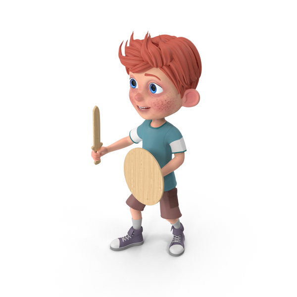Cartoon Boy Charlie Holding Sword And Shield PNG & PSD Images