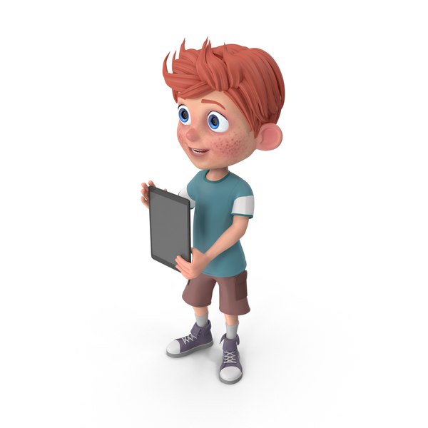 Cartoon Boy Charlie Holding Tablet PNG & PSD Images