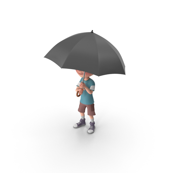 Cartoon Boy Charlie Holding Umbrella PNG & PSD Images
