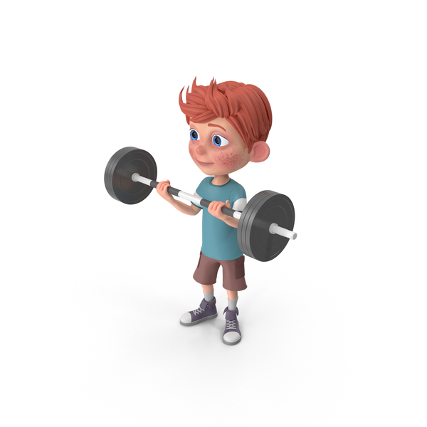 Cartoon Boy Charlie Lifting Barbell PNG & PSD Images