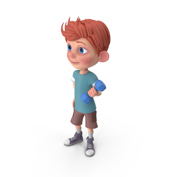 Cartoon Boy Charlie Lifting Dumbbell PNG & PSD Images