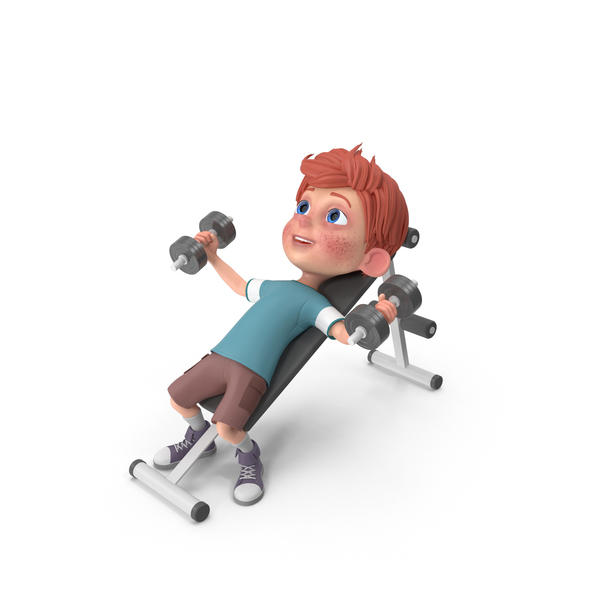 Cartoon Boy Charlie Lifting Dumbbells PNG & PSD Images