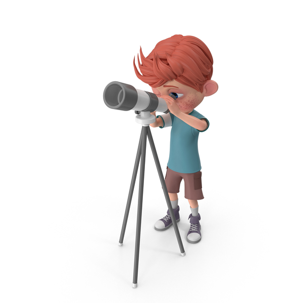 Cartoon Boy Charlie Looking Through Telescope PNG & PSD Images