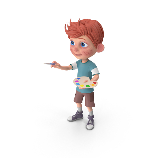 Cartoon Boy Charlie Painting PNG & PSD Images