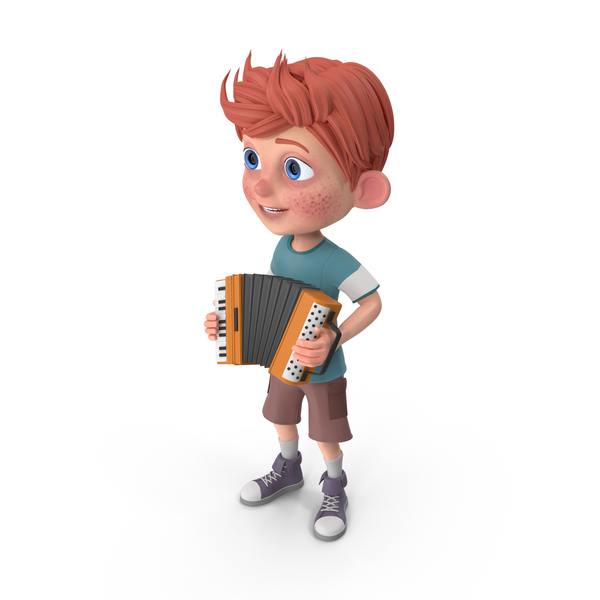 Cartoon Boy Charlie Playing Accordion PNG & PSD Images