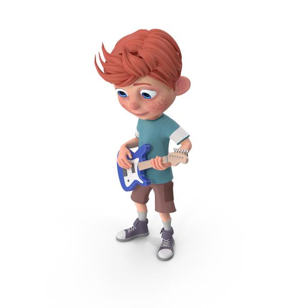 Cartoon Boy Charlie Playing Guitar PNG & PSD Images