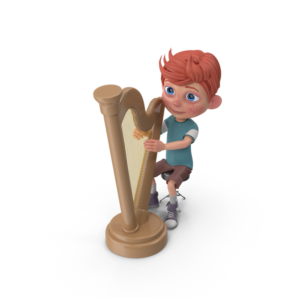 Cartoon Boy Charlie Playing Harp PNG & PSD Images