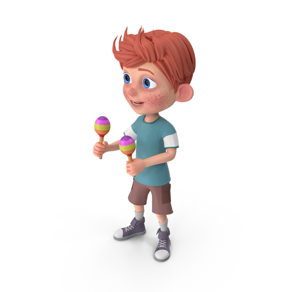 Cartoon Boy Charlie Playing Maracas PNG & PSD Images