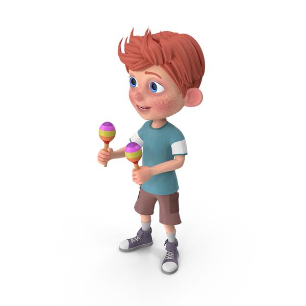 Cartoon Boy Charlie Playing Maracas PNG & PSD Images