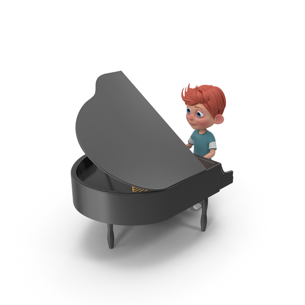 Cartoon Boy Charlie Playing Piano PNG & PSD Images