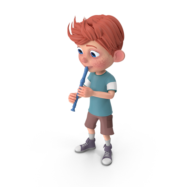 Cartoon Boy Charlie Playing Recorder PNG & PSD Images