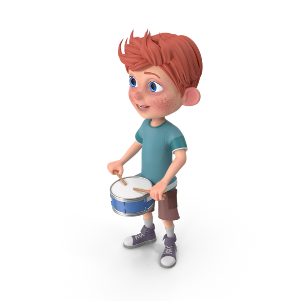 Cartoon Boy Charlie Playing Snare Drum PNG & PSD Images