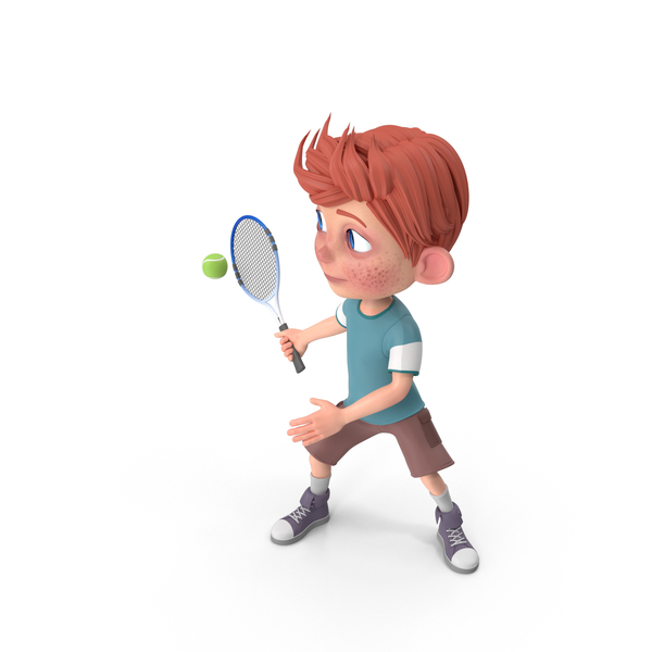 Cartoon Boy Charlie Playing Tennis PNG & PSD Images