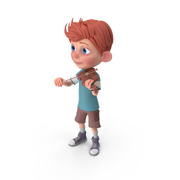 Cartoon Boy Charlie Playing Violin PNG & PSD Images