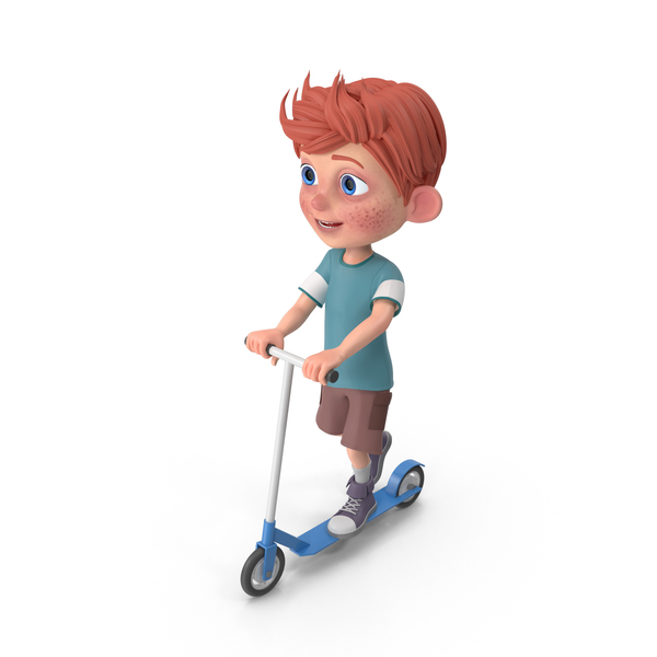 Cartoon Boy Charlie Riding Scooter PNG & PSD Images