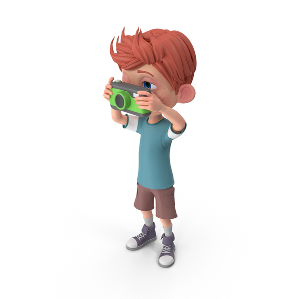 Cartoon Boy Charlie Taking A Photograph PNG & PSD Images