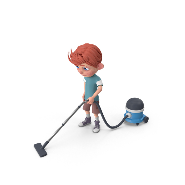 Cartoon Boy Charlie Vacuuming PNG & PSD Images