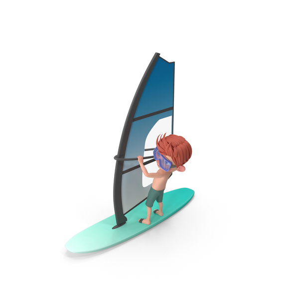 Cartoon Boy Charlie Windsurfing PNG & PSD Images