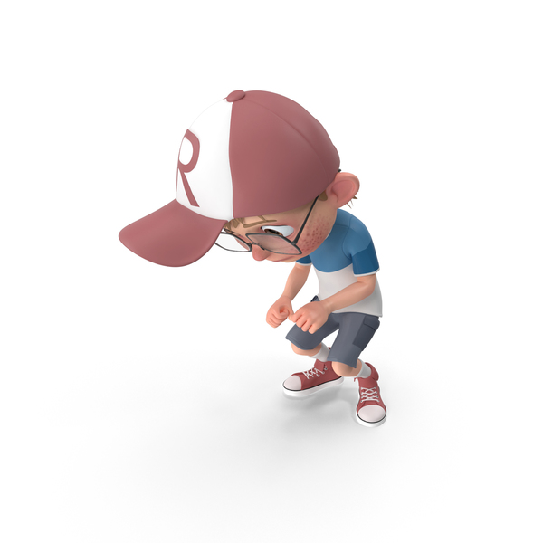 Cartoon Boy Crouching PNG & PSD Images