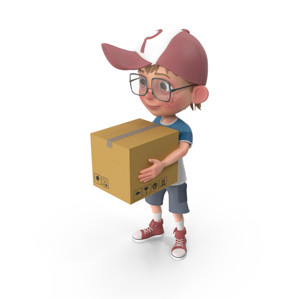 Cartoon Boy Harry Delivering A Box PNG & PSD Images