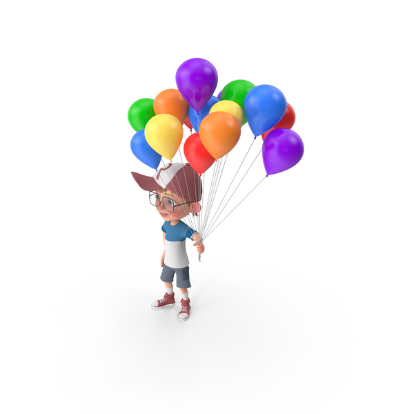 Cartoon Boy Harry Holding Balloons PNG & PSD Images