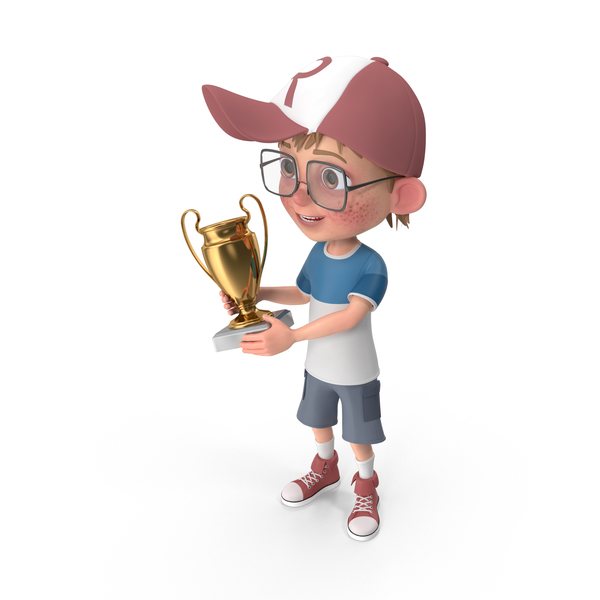 Cartoon Boy Harry Holding Prize Cup PNG & PSD Images