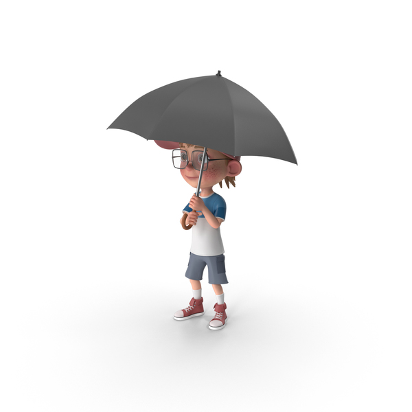 Cartoon Boy Harry Holding Umbrella PNG & PSD Images