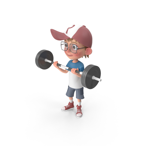 Cartoon Boy Harry Lifting Barbell PNG & PSD Images
