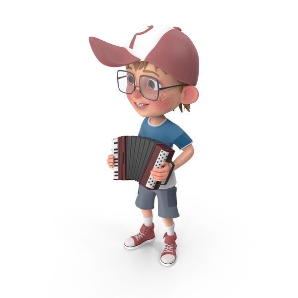 Cartoon Boy Harry Playing Accordion PNG & PSD Images