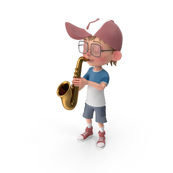 Cartoon Boy Harry Playing Saxophone PNG & PSD Images